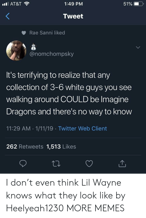 Dank, Lil Wayne, and Memes: AT&T  1:49 PM  51%  Tweet  Rae Sanni liked  onomchompsky  It's terrifying to realize that any  collection of 3-6 white guys you see  walking around COULD be lmagine  Dragons and there's no way to know  11:29 AM 1/11/19 Twitter Web Client  262 Retweets 1,513 Likes I don't even think Lil Wayne knows what they look like by Heelyeah1230 MORE MEMES