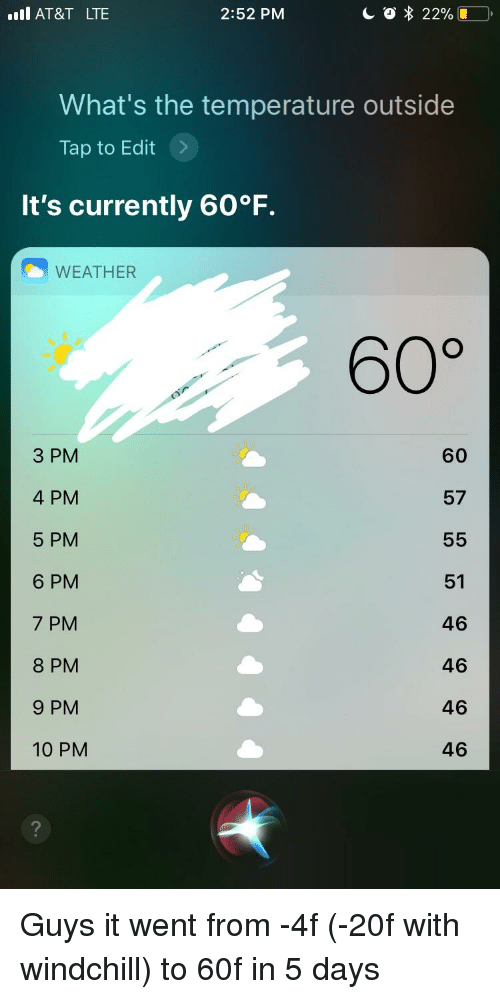 Whats The Temperature: AT&T LTE  2:52 PM  What's the temperature outside  Tap to Edit >  It's currently 60°F  WEATHER  60%  3 PM  4 PM  5 PM  6 PM  7 PM  8 PM  9 PM  10 PM  60  57  51  46  46  46  46