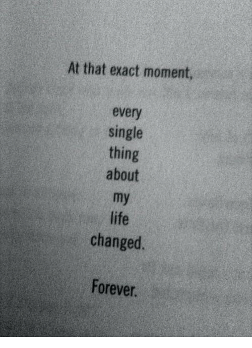 Life, Forever, and Single: At that exact moment,  every  single  thing  about  my  life  changed.  Forever