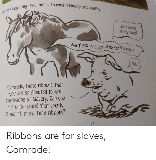 mane: AT the beginning they met with much stupidity and apathy.  and ribbons  in my mane?  Will there be sugar after the Rebellion?  No.  Comrade, those ribbons that  you are so devoted to are  the badge of slavery. Can you  not understand that liberty  iS worth more than ribbons?  27 Ribbons are for slaves, Comrade!