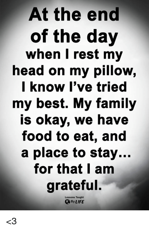 Family, Food, and Head: At the end  of the day  when I rest my  head on my pillow,  know I've tried  my best. My family  is okay, we have  food to eat, and  a place to stay...  for that I am  grateful.  Lessons Taught  By LIFE <3