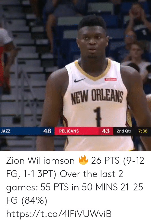 Pelicans: ATARAINS  NEW ORLEANS  48  43  JAZZ  PELICANS  2nd Qtr  7:36 Zion Williamson 🔥 26 PTS (9-12 FG, 1-1 3PT)  Over the last 2 games:  55 PTS in 50 MINS 21-25 FG (84%)   https://t.co/4lFiVUWviB