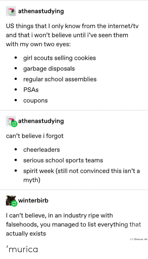 Cookies, Girl Scouts, and Internet: athenastudying  US things that I only know from the internet/tv  and that i won't believe until i've seen them  with my own two eyes:  girl scouts selling cookies  garbage disposals  regular school assemblies  PSAS  coupons  athenastudying  can't believe i forgot  cheerleaders  serious school sports teams  spirit week (still not convinced this isn't a  myth)  winterbirb  I can't believe, in an industry ripe with  falsehoods, you managed to list everything that  actually exists  Ctitob It 'murica