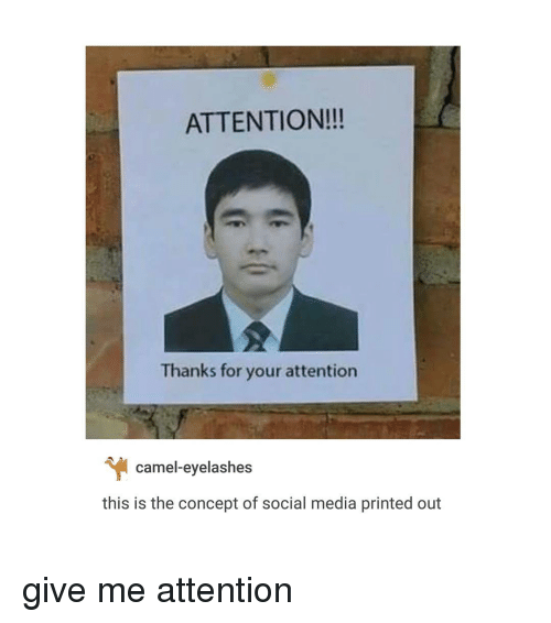 Give Me Attention: ATTENTION!!!  Thanks for your attention  camel-eyelashes  this is the concept of social media printed out give me attention