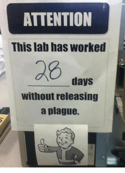 attentive: ATTENTION  This lab has worked  days  without releasing  a plague.