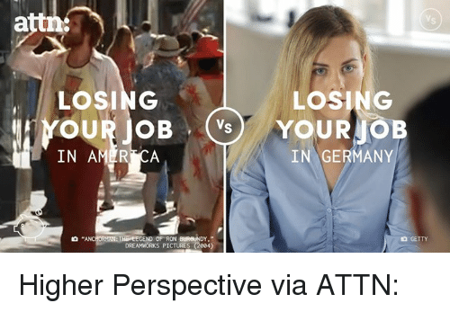 """Ron Burgundy: attn:  LOSING  LOSING  Mr YOUR OB  Vs  YOUR JOB  IN AMER CA  IN GERMANY  """"ANC  THE EEGEND OF RON BURGUNDY.""""  DREAMWORKS PICTURES (2004 Higher Perspective via ATTN:"""