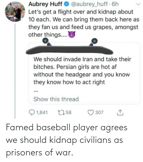 Civilians: Aubrey Huff O @aubrey_huff 6h  Let's get a flight over and kidnap about  10 each. We can bring them back here as  they fan us and feed us grapes, amongst  other things..  We should invade Iran and take their  bitches. Persian girls are hot af  without the headgear and you know  they know how to act right  Show this thread  Q 1,841  O 307  2758 Famed baseball player agrees we should kidnap civilians as prisoners of war.