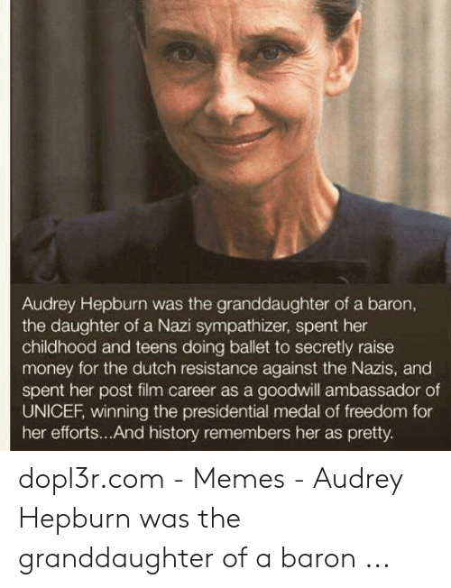 Memes, Money, and History: Audrey Hepburn was the granddaughter of a baron,  the daughter of a Nazi sympathizer, spent her  childhood and teens doing ballet to secretly raise  money for the dutch resistance against the Nazis, and  spent her post film career as a goodwill ambassador of  UNICEF, winning the presidential medal of freedom for  her efforts... And history remembers her as pretty. dopl3r.com - Memes - Audrey Hepburn was the granddaughter of a baron ...