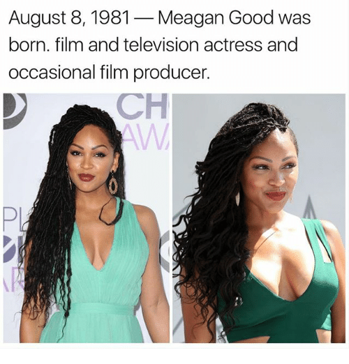 Memes, Good, and Television: August 8, 1981 -Meagan Good was  born. film and television actress and  occasional film producer  CH  Pi