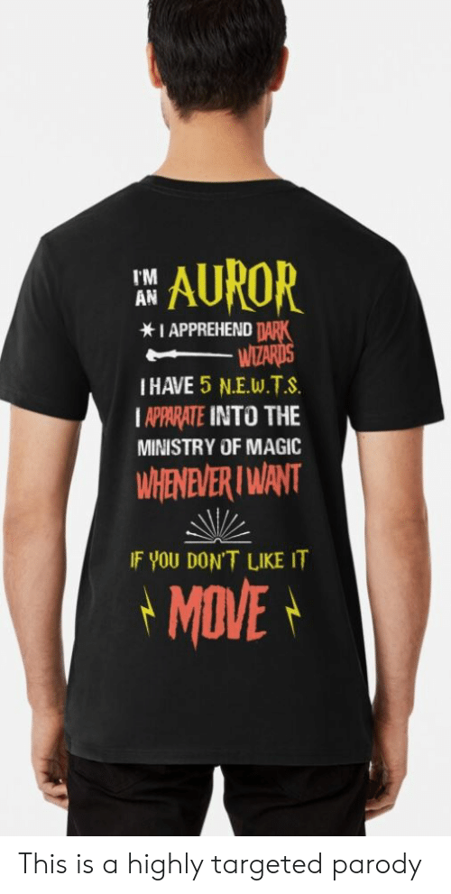 Magic, Wizards, and Parody: AUROR  I'M  AN  IAPPREHEND TARK  WIZARDS  IHAVE 5 N.E.W.T.S  IAPPARATE INTO THE  MINISTRY OF MAGIC  WHENEVER I WANT  IF YOU DON'T LIKEIT  MOVE This is a highly targeted parody