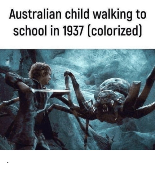 Colorized: Australian child walking to  school in 1937 (colorized) .