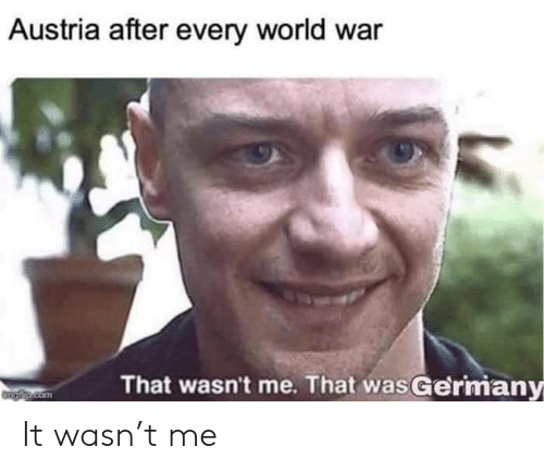 wasnt me: Austria after every world war  That wasn't me. That wasGermany  Taip.com It wasn't me
