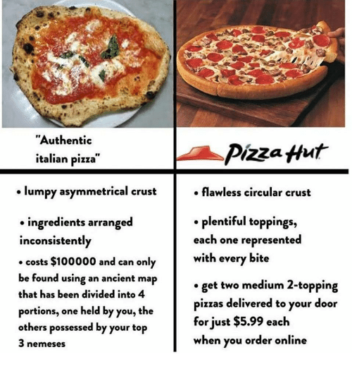 """Pizza, Pizza Hut, and Ancient: """"Authentic  italian pizza  Pizza Hut  lumpy asymmetrical crust  . flawless circular crust  . plentiful toppings,  each one represented  with every bite  ingredients arranged  inconsistently  costs $100000 and can only  be found using an ancient map  that has been divided into 4  portions, one held by you, the  others possessed by your top  3 nemeses  get two medium 2-topping  pizzas delivered to your door  for just $5.99 each  when you order online"""