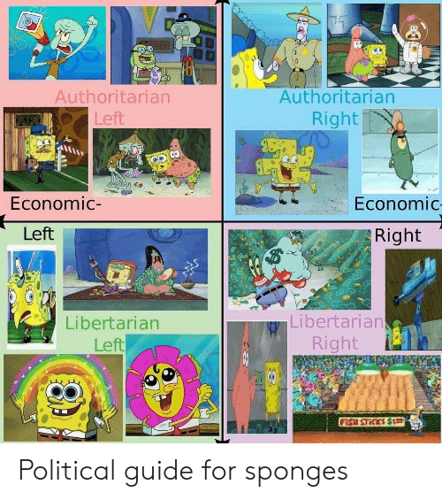 Libertarian, Guide, and For: Authoritarian  Left  Authoritarian  Right  Economic-  Economic  Left  Right  Libertarian  Left  Libertarian  Right Political guide for sponges