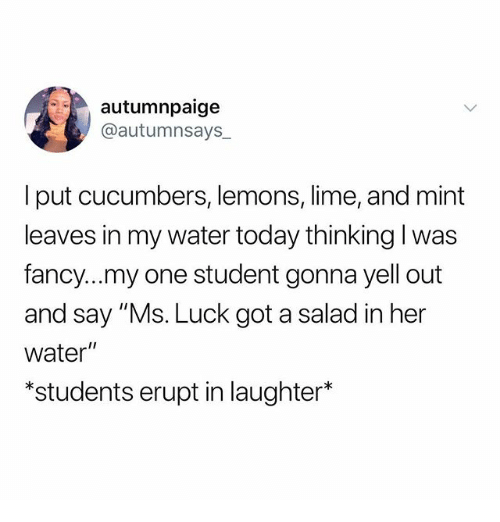 """Memes, Fancy, and Today: autumnpaige  @autumnsays_  I put cucumbers, lemons, lime, and mint  leaves in my water today thinking l was  fancy...my one student gonna yell out  and say """"Ms. Luck got a salad in her  water""""  *students erupt in laughter*"""