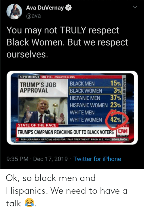 "Approval: Ava DuVernay  @ava  You may not TRULY respect  Black Women. But we respect  ourselves.  SEPTEMBER 5-9 CAN POLL CONDUCTED BY SSIS  15%  3%  37%  BLACK MEN  TRUMP'S JOB  APPROVAL  BLACK WOMEN  HISPANIC MEN  HISPANIC WOMEN 23%  WHITE MEN  WHITE WOMEN ( 42%  STATE OF THE RACE  TRUMP'S CAMPAIGN REACHING OUT TO BLACK VOTERS CN  11:40 PM ET  TOP UKRAINIAN OFFICIAL ASKS FOR ""FAIR TREATMENT"" FROM U.S. AMIC DON LEMON  9:35 PM · Dec 17, 2019 · Twitter for iPhone  MARGIN OF ERROR: +/-9.3° TS. Ok, so black men and Hispanics. We need to have a talk 😂."