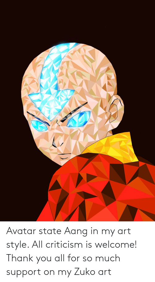 My Art: Avatar state Aang in my art style. All criticism is welcome! Thank you all for so much support on my Zuko art