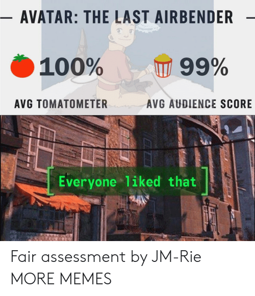 Assessment: - AVATAR: THE LAST AIRBENDER  100%  99%  AVG TOMATOMETER  AVG AUDIENCE SCORE  Everyone liked that Fair assessment by JM-Rie MORE MEMES