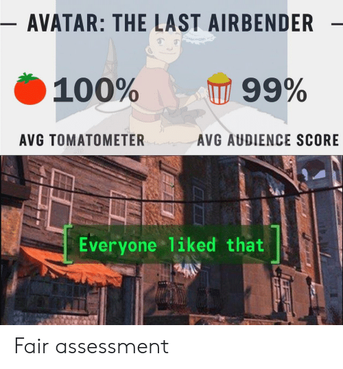 Assessment: - AVATAR: THE LAST AIRBENDER  100%  99%  AVG TOMATOMETER  AVG AUDIENCE SCORE  Everyone liked that Fair assessment