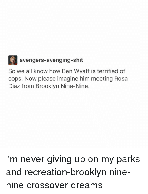 park and recreation: avengers avenging-shit  So we all know how Ben Wyatt is terrified of  cops. Now please imagine him meeting Rosa  Diaz from Brooklyn Nine-Nine i'm never giving up on my parks and recreation-brooklyn nine-nine crossover dreams