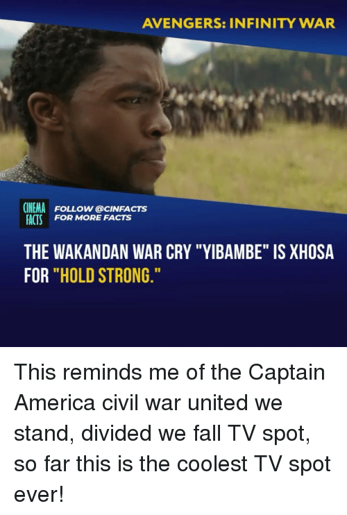 """Captain America: Civil War: AVENGERS: INFINITY WAR  CINEMA FOLLOW @cINFACTS  ACTS FOR MORE FACTS  THE WAKANDAN WAR CRY """"YIBAMBE"""" IS XHOSA  FOR """"HOLD STRONG This reminds me of the Captain America civil war united we stand, divided we fall TV spot, so far this is the coolest TV spot ever!"""