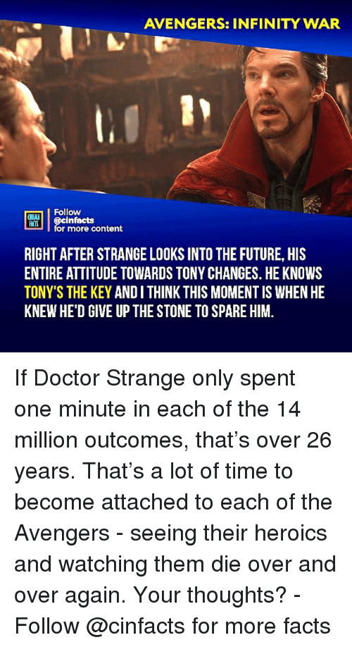 tonys: AVENGERS: INFINITY WAR  Follow  ONE  HATS  infacts  r more content  RIGHT AFTER STRANGE LOOKS INTO THE FUTURE, HIS  ENTIRE ATTITUDE TOWARDS TONY CHANGES. HE KNOWS  TONY'S THE KEY ANDI THINK THIS MOMENT IS WHEN HE  KNEW HE'D GIVE UP THE STONE TO SPARE HIM. If Doctor Strange only spent one minute in each of the 14 million outcomes, that's over 26 years. That's a lot of time to become attached to each of the Avengers - seeing their heroics and watching them die over and over again. Your thoughts?⠀ -⠀⠀ Follow @cinfacts for more facts