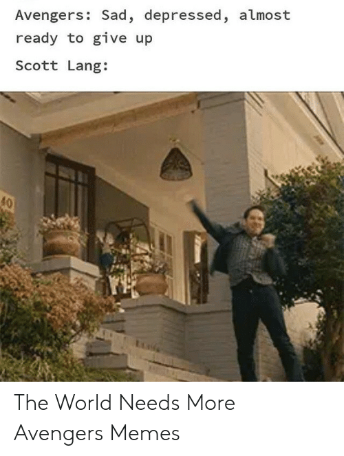 Lang: Avengers: Sad, depressed, almost  ready to give up  Scott Lang:  40 The World Needs More Avengers Memes