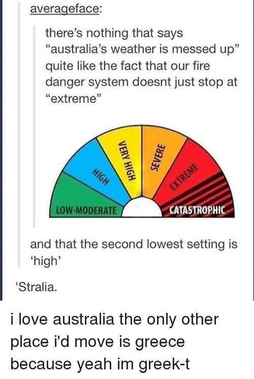 """moderator: average face  there's nothing that says  """"australia's weather is messed up""""  quite like the fact that our fire  danger system doesnt just stop at  extreme  ASTRO  LOW-MODERATE  and that the second lowest setting is  """"high""""  'Stralia. i love australia the only other place i'd move is greece because yeah im greek-t"""