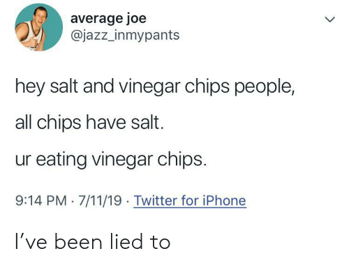 Lied To: average joe  @jazz_inmypants  hey salt and vinegar chips people,  all chips have salt.  ur eating vinegar chips.  9:14 PM 7/11/19 Twitter for iPhone I've been lied to