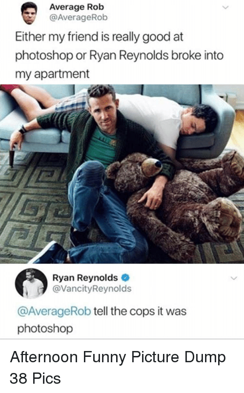 funny picture: Average Rob  @AverageRob  Either my friend is really good at  photoshop or Ryan Reynolds broke into  my apartment  Ryan Reynolds  @VancityReynolds  @AverageRob tell the cops it was  photoshop Afternoon Funny Picture Dump 38 Pics