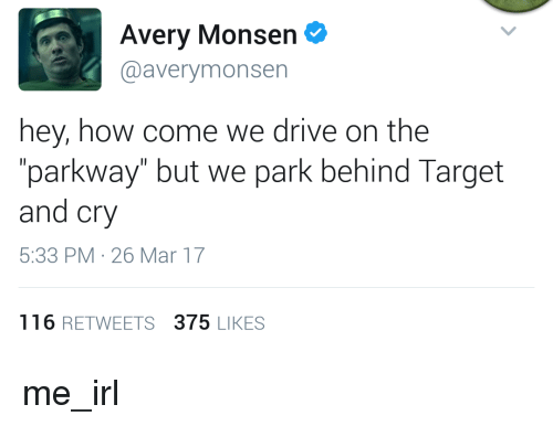 "Target, Drive, and Irl: Avery Monsen  @averymonsen  hey, how come we drive on the  parkway"" but we park behind Target  and cry  5:33 PM-26 Mar 17  116 RETWEETS 375 LIKES me_irl"