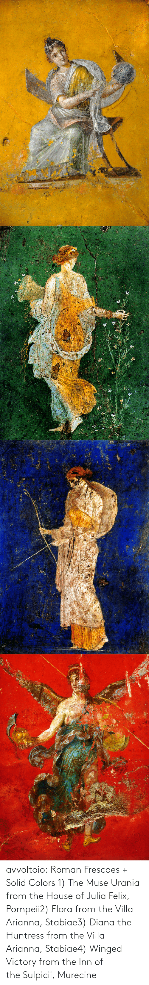 diana: avvoltoio: Roman Frescoes + Solid Colors 1) The Muse Urania from the House of Julia Felix, Pompeii2) Flora from the Villa Arianna, Stabiae3) Diana the Huntress from the Villa Arianna, Stabiae4) Winged Victory from the Inn of the Sulpicii, Murecine