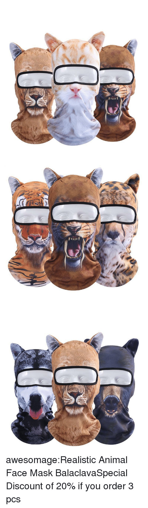 face mask: awesomage:Realistic Animal Face Mask BalaclavaSpecial Discount of 20% if you order 3 pcs