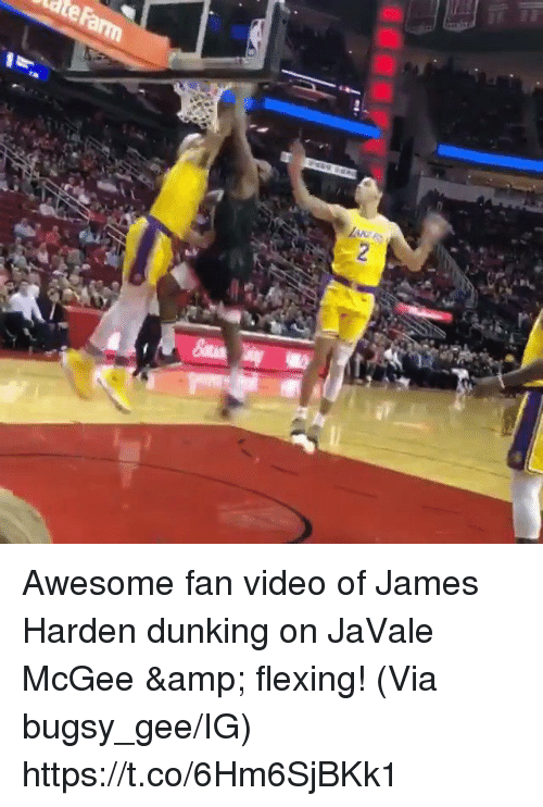 e8c0c8abf296 Awesome fan video of James Harden dunking on JaVale McGee  amp  flexing!  (Via