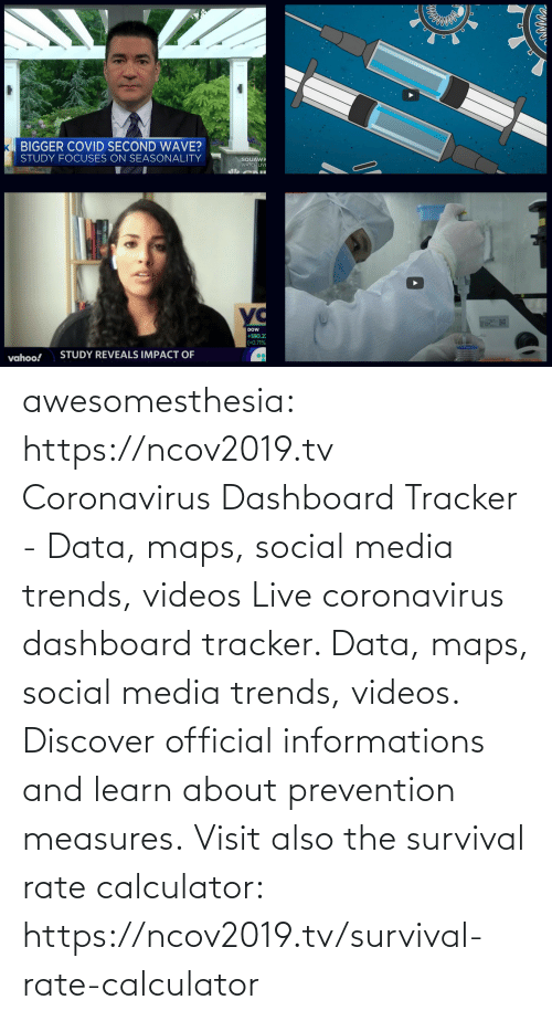 /tv/ : awesomesthesia: https://ncov2019.tv Coronavirus Dashboard Tracker - Data, maps, social media trends, videos Live coronavirus dashboard tracker. Data, maps, social media trends, videos. Discover official informations and learn about prevention measures. Visit also the survival rate calculator: https://ncov2019.tv/survival-rate-calculator