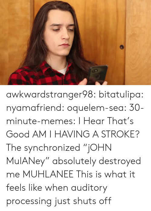 """Thats Good: awkwardstranger98: bitatulipa:  nyamafriend:   oquelem-sea:  30-minute-memes: I Hear That's Good  AM I HAVING A STROKE?  The synchronized""""jOHN MulANey"""" absolutely destroyed me   MUHLANEE   This is what it feels like when auditory processing just shuts off"""
