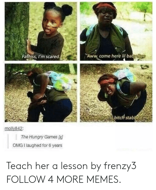 Lil Baby: Aww come here lil baby Rue  Fatniss, I'm scared  O0OH that bitch stabbed me  molly842:  The Hungry Games  OMG I laughed for 6 years Teach her a lesson by frenzy3 FOLLOW 4 MORE MEMES.