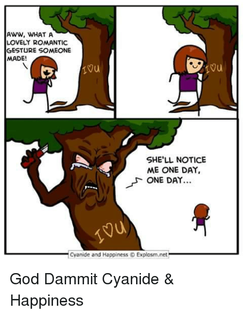 Cyanide Happy: AWW, WHAT A  LOVELY ROMANTIC  GESTURE SOMEONE  MADE!  SHE'LL NOTICE  ME ONE DAY,  ONE DAY  Cyanide and Happiness o Explosm.net God Dammit Cyanide & Happiness