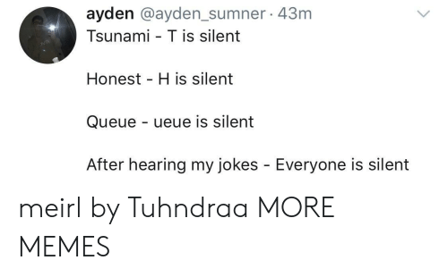 Tsunami: ayden @ayden_sumner 43m  Tsunami - T is silent  Honest H is silent  Queue - ueue is silent  After hearing my jokes - Everyone is silent meirl by Tuhndraa MORE MEMES
