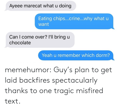 Eating Chips: Ayeee marecat what u doing  Eating chips...crine...why what u  want  Can I come over? I'll bring u  chocolate  Yeah u remember which dorm? memehumor:  Guy's plan to get laid backfires spectacularly thanks to one tragic misfired text.