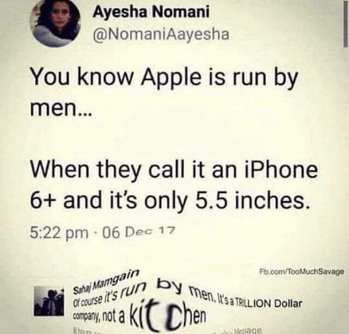 ion: Ayesha Nomani  @NomaniAayesha  You know Apple is run by  men...  When they call it an iPhone  6+ and it's only 5.5 inches.  5:22 pm 06 Dec 17  Sha Mamgain  Of course it's r men. It's TRILL ION Dollar  Fb.com/fooMuchSavage  Chen  uesage