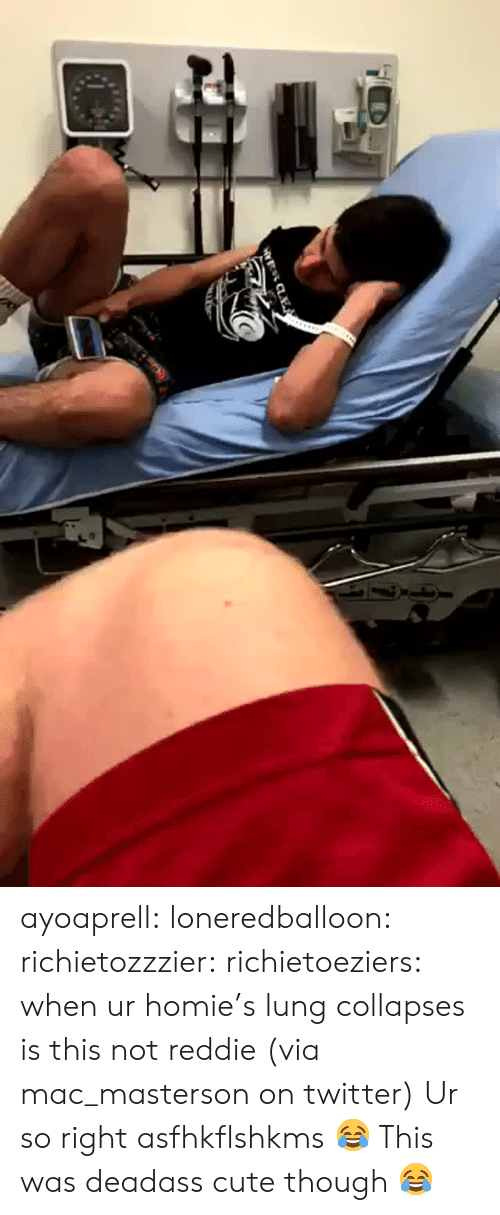 Cute, Homie, and Target: ayoaprell: loneredballoon:  richietozzzier:   richietoeziers:   when ur homie's lung collapses is this not reddie (via mac_masterson on twitter)   Ur so right asfhkflshkms   😂   This was deadass cute though 😂