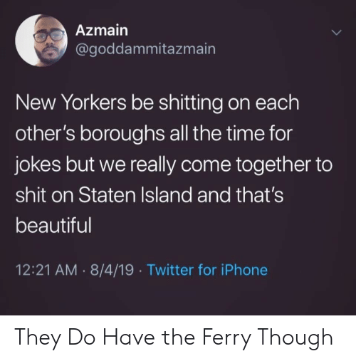 Beautiful, Iphone, and Shit: Azmain  @goddammitazmain  New Yorkers be shitting on each  other's boroughs all the time for  jokes but we really come together to  shit on Staten Island and that's  beautiful  12:21 AM 8/4/19 Twitter for iPhone  > They Do Have the Ferry Though