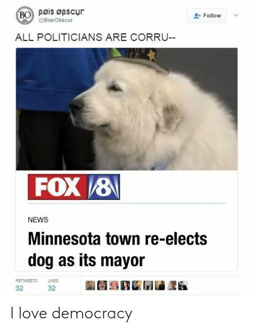 Love Democracy: Bøis Øpscur  BO  Follow  @BoisObscur  ALL POLITICIANS ARE CORRU--  FOX 8  NEWS  Minnesota town re-elects  dog as its mayor  LIKES  RETWEETS  32  32 I love democracy