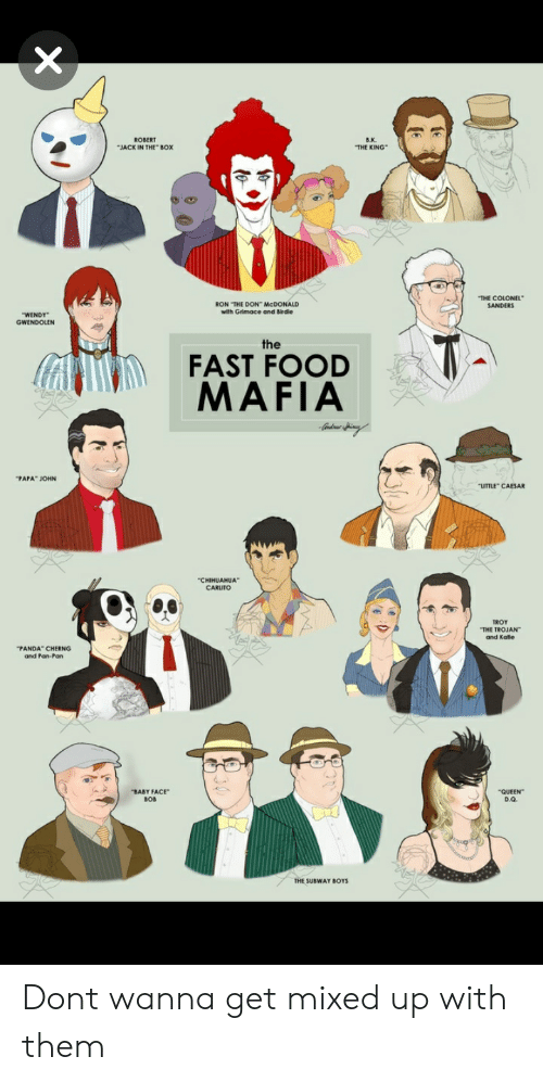 "Fast Food, Food, and Jack in the Box: B.K.  THE KING  ROBERT  JACK IN THE BOX  THE COLONEL  RON THE DON McDONALD  with Grimace and Birdie  WENDY  GWENDOLEN  FAST FOOD  MAFIA  PAPA"" JOHN  LITTLE CAESAR  THE TROJAN  and Katle  PANDA CHERNG  and Pan-Pan  BABY FACE""  BOB  QUEEN  D.Q.  THE SUBWAY BOYS Dont wanna get mixed up with them"