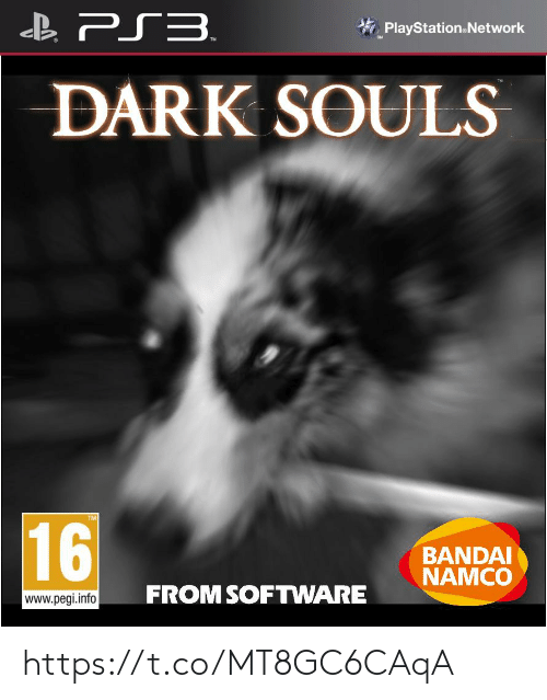 software: B PS3.  PlayStation.Network  DARK SOULS  16  BANDAI  NAMCO  FROM SOFTWARE  www.pegi.info https://t.co/MT8GC6CAqA