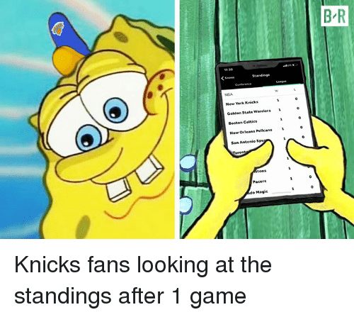 San Antonio: B-R  11:39  NGA  New York Knicks  Golden State Warriors 1  Boston Celtics  New Orleans Pelicas  San Antonio Sp  Pacers  o Magic Knicks fans looking at the standings after 1 game