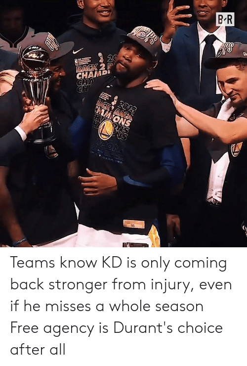 Free, Back, and All: B R  20  RACK 2P  CHAMD  CHA  2018  BCK BACK  CHAMIONS  PNS  ( T AR ORE  35 Teams know KD is only coming back stronger from injury, even if he misses a whole season  Free agency is Durant's choice after all