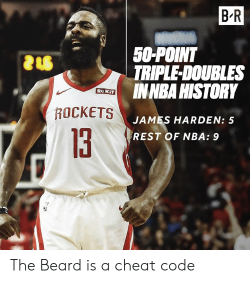 Beard, James Harden, and Nba: B R  50-POINT  TRIPLE-DOUBLES  INNBA HISTORY  ROCKETS  JAMES HARDEN: 5  REST OF NBA: 9  13 The Beard is a cheat code