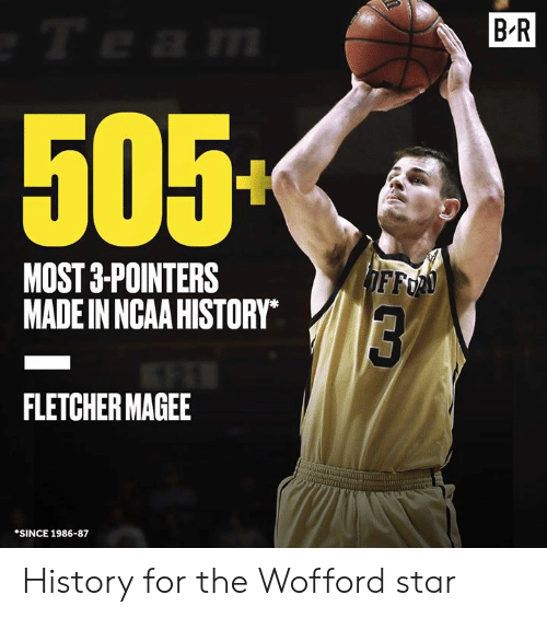 Ncaa: B R  505  MOST 3-POINTERS  MADE IN NCAA HISTORY  FFo  FLETCHER MAGEE  SINCE 1986-87 History for the Wofford star